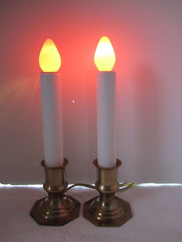 2 Vintage Brass Christmas Candles Electric Window Candle 7 Orange Light Bulbs Electric Window Candles Bulb