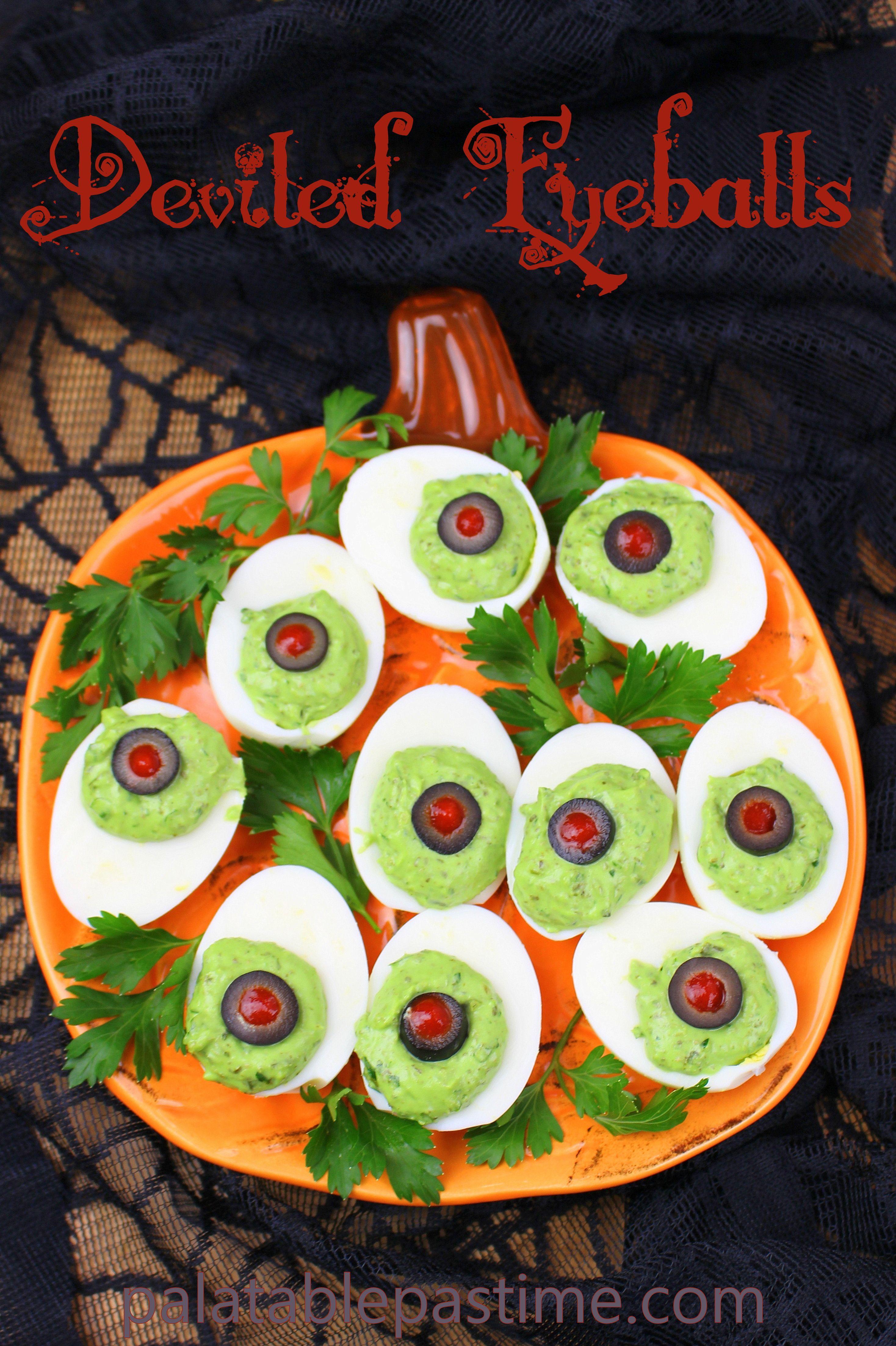 Deviled Eyeballs Egg dishes breakfast, Yummy greens