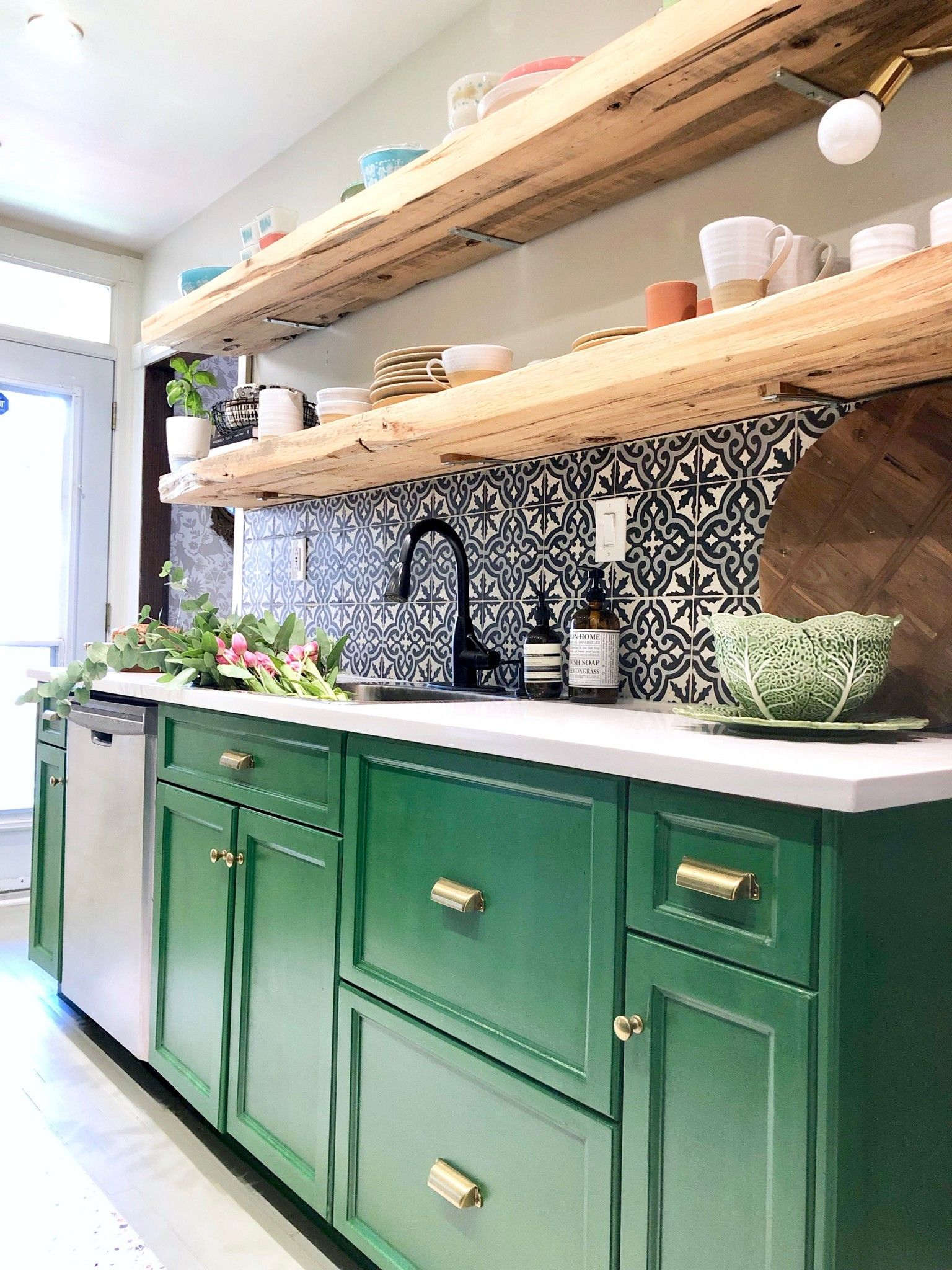 My Kitchen Makeover With The Behr Chalk Decorative Paint Green Kitchen Cabinets Kitchen Cabinet Design Contemporary Kitchen