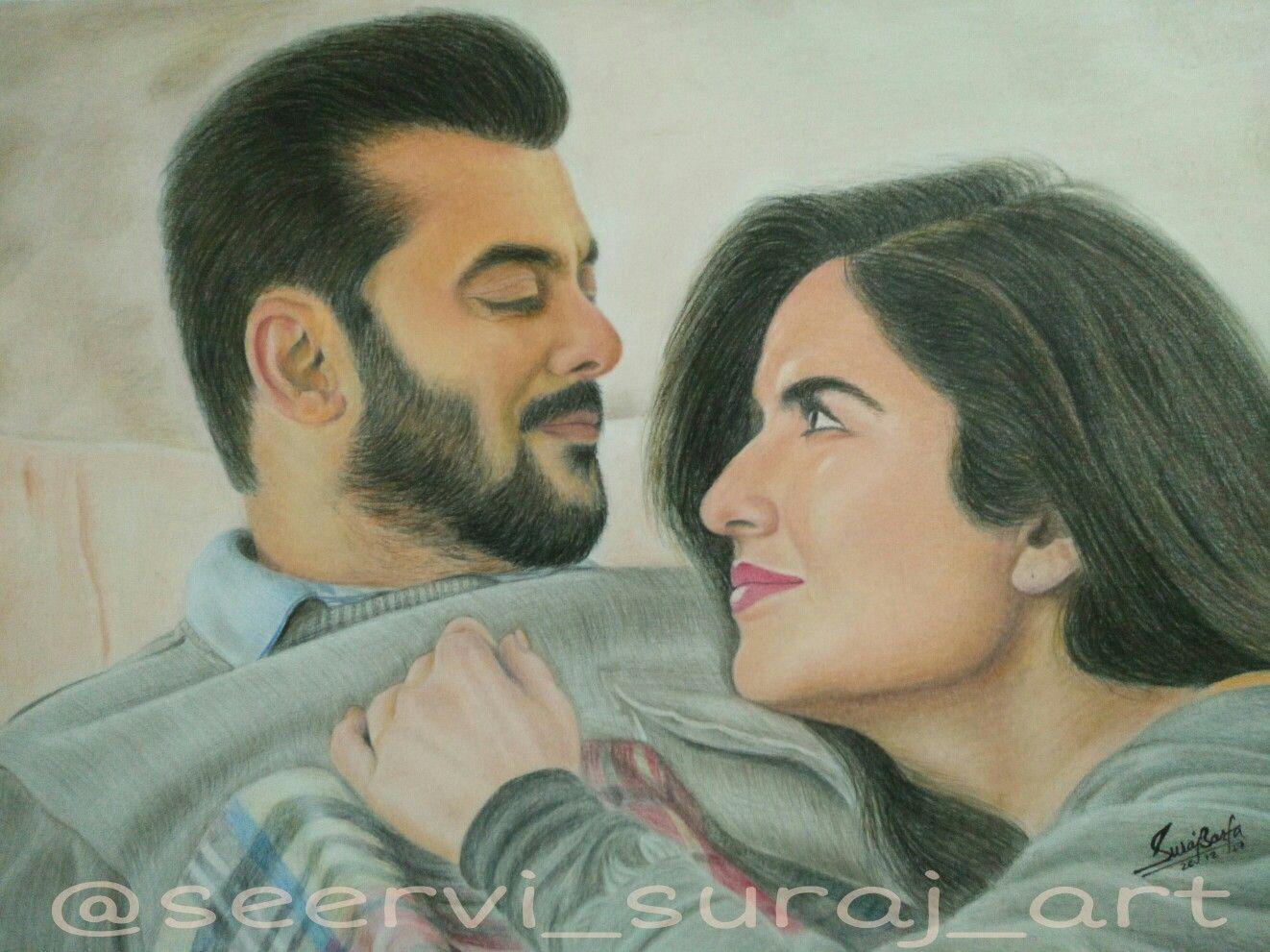 Salman khan and katrina kaif from tiger zinda hai sketch by me ig seervi suraj art fb sb art salmankhan katrinakaif