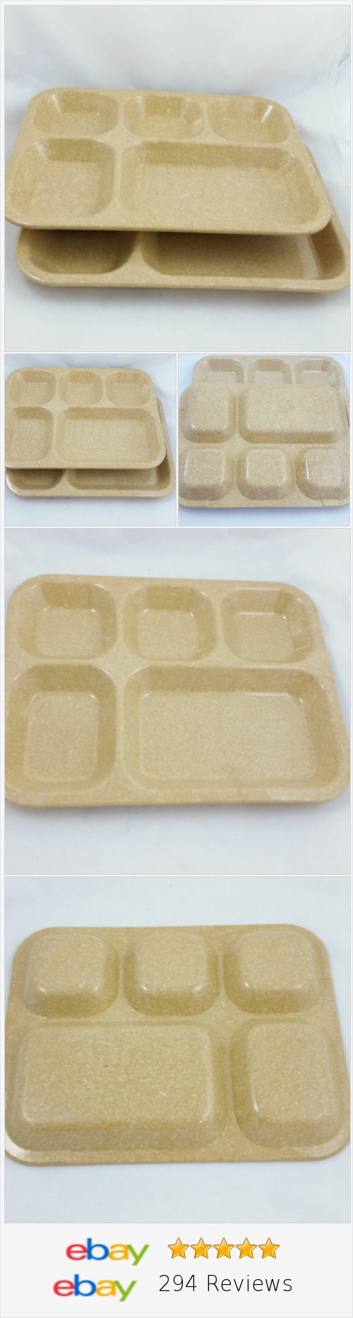 2 Brown Halsey Plastic Separated Divided Serving Trays Camping Dining Mess 1992