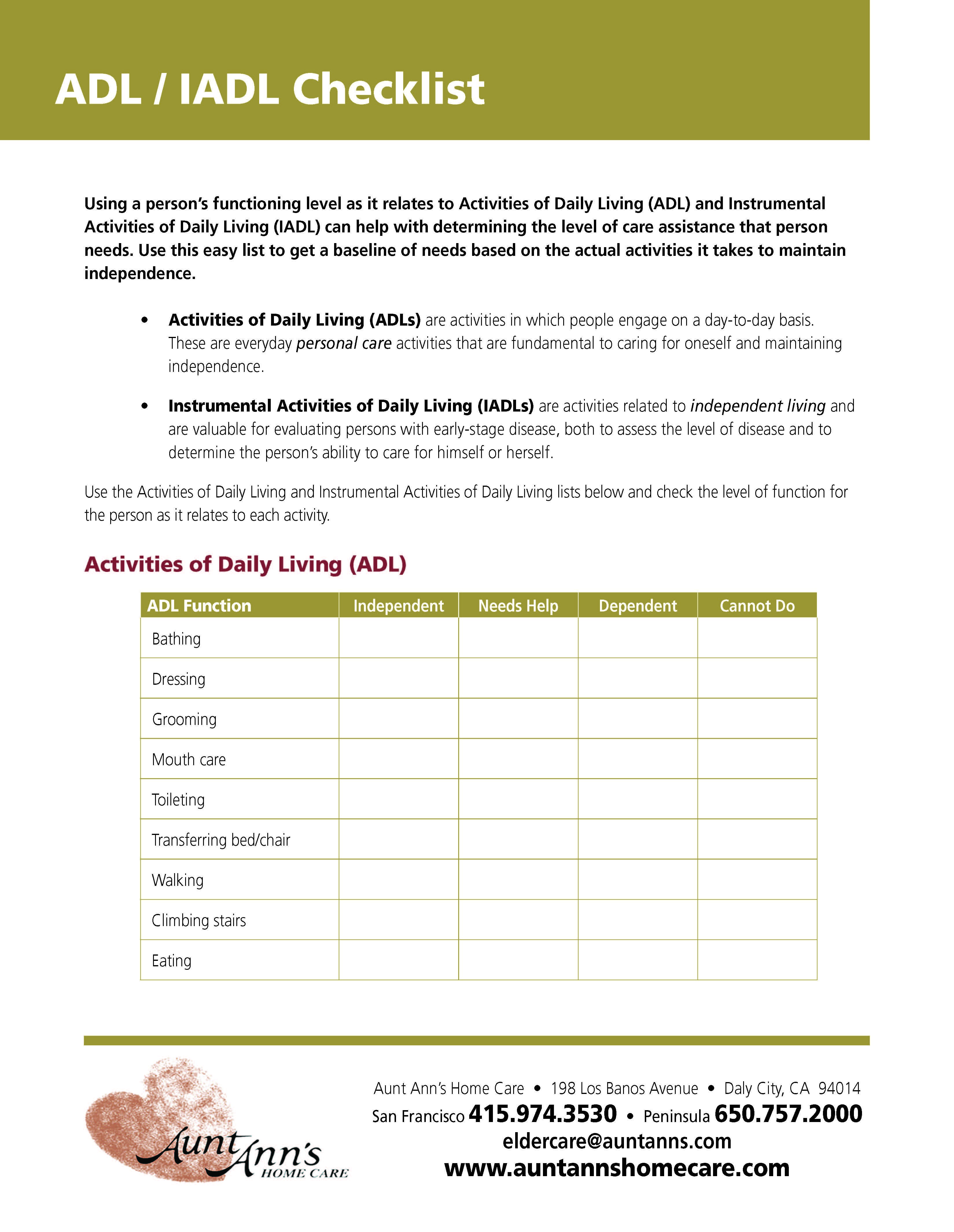 Activities Of Daily Living Worksheet In