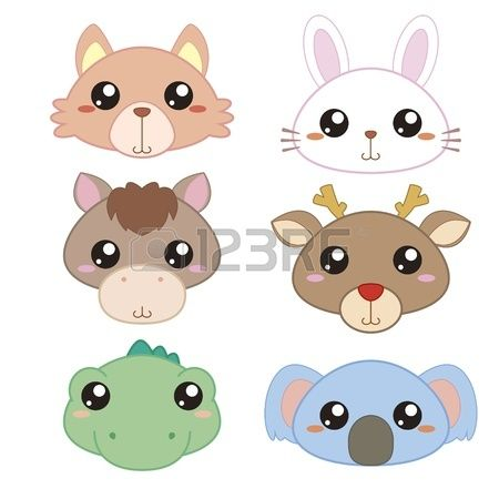 Six Cute Cartoon Animal Head Icons Cute Cartoon Animals Cartoon Animals Animal Heads