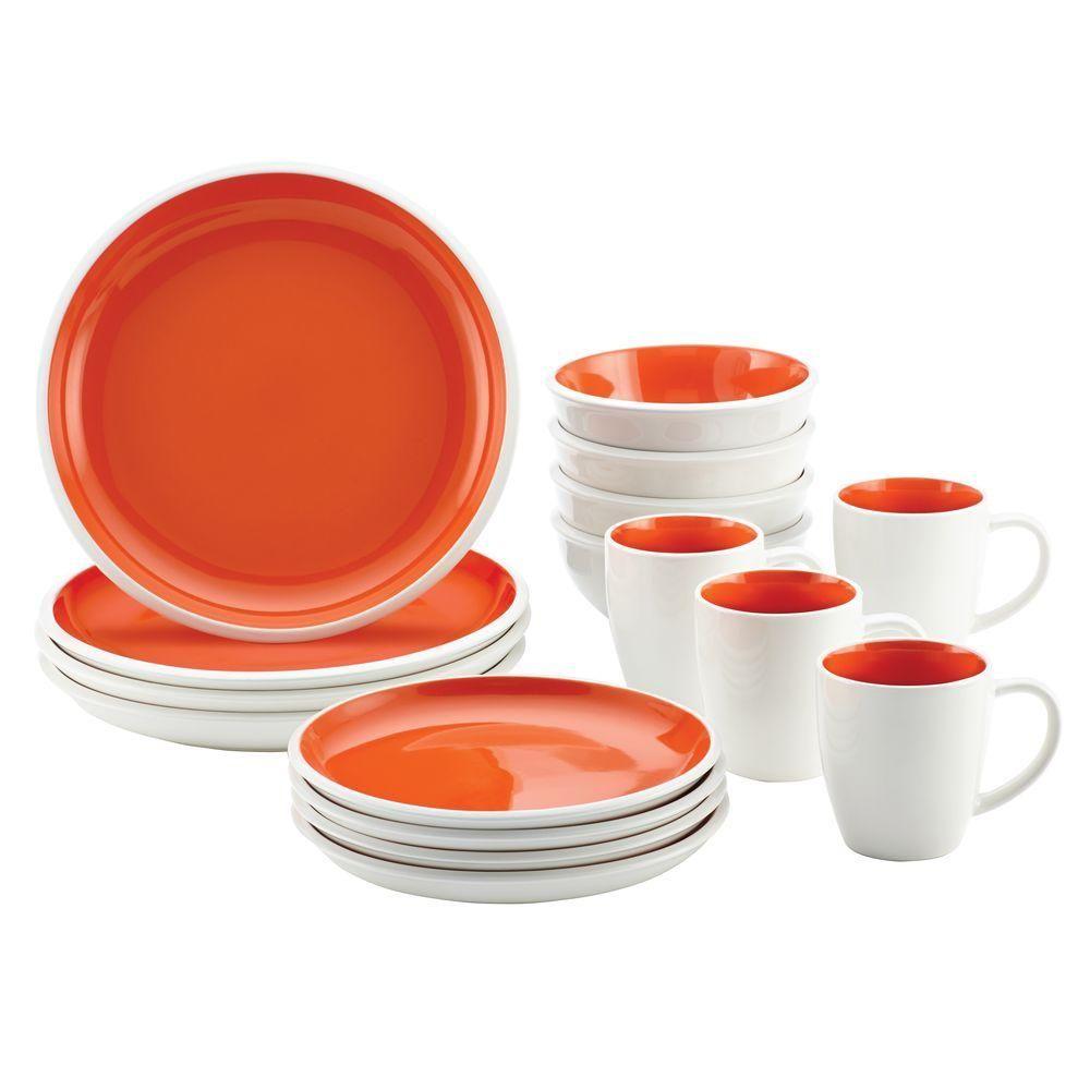 Rachael Ray Rise Stoneware 16 Piece Dinnerware Set In Orange 58638