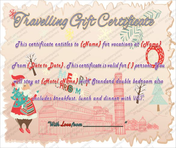 Printable Travel Gift Certificate Template Word PDF PSD Voucher