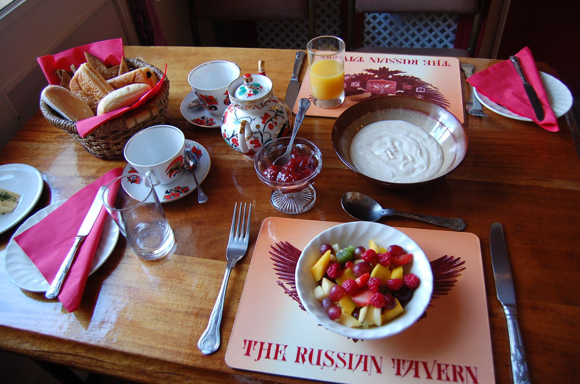Breakfast table at The Russian Tavern