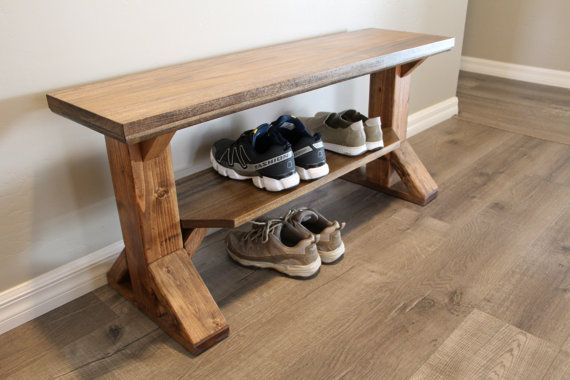 Solid Wood Farmhouse Entry Bench Storage Bench Shoe Bench Diy Storage Bench Entryway Bench Storage Bench With Shoe Storage