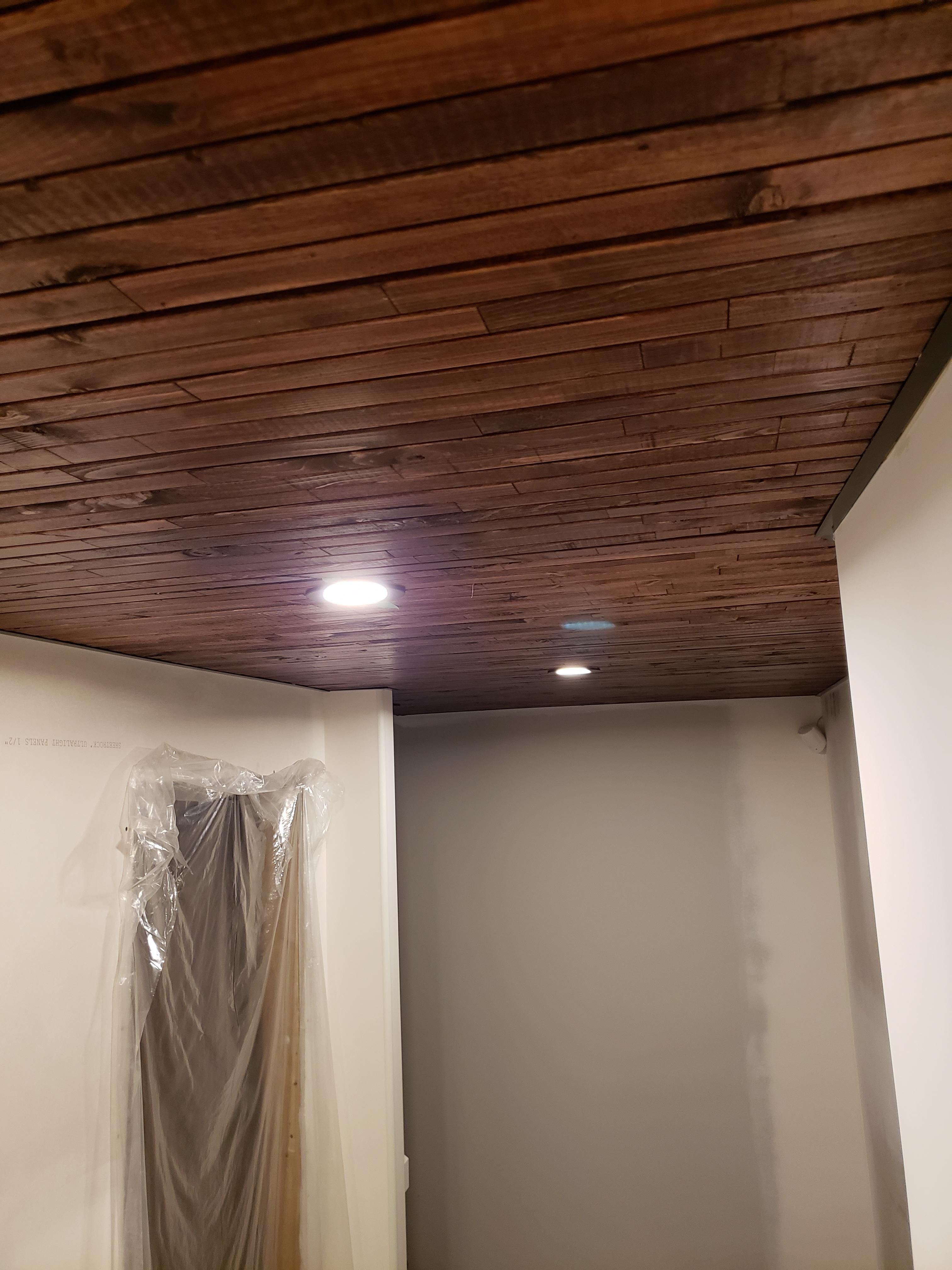 Re Post Of My Basement Hallway Stained Pine Ceiling As The Last One Was Taken Down Thanks To Everyone On My Last Post For The Stain On Pine Ceiling Pine Walls