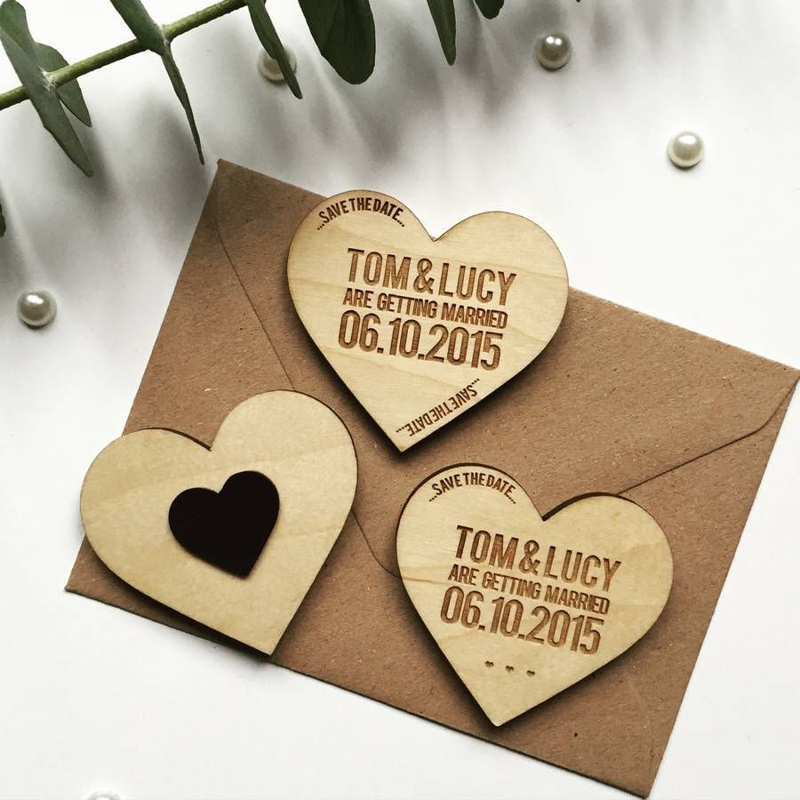 Heart Token Wooden Magnet Save The Date | Magnets, Woodland wedding ...