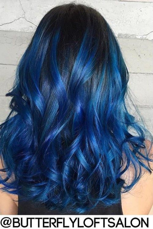 Gimme The Blues Bold Blue Highlight Hairstyles Hair Dye Ideas