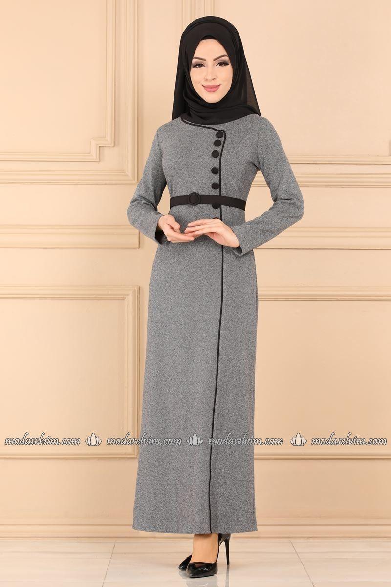 Moda Selvim Dugmeli Kalem Tesettur Elbise 5253ay342 Gri Fashion Dresses Nun Dress