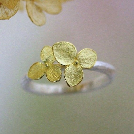 Hydrangea Blossom Ring Stacking Ring by PatrickIrlaJewelry on Etsy