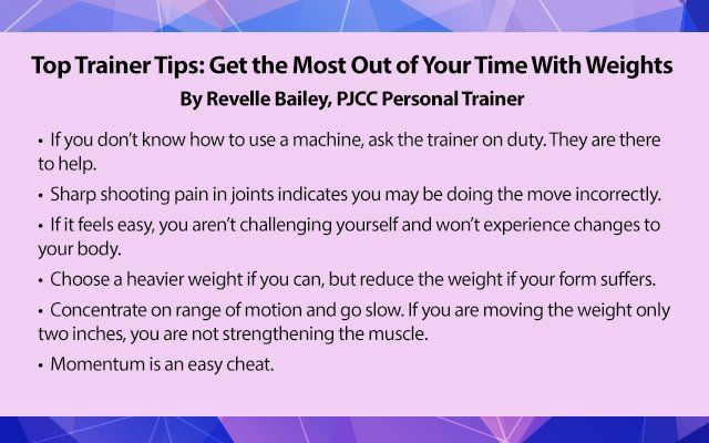 Have an effective strength-training session with these tips from one of PJCC's Personal Trainers on using weights correctly.