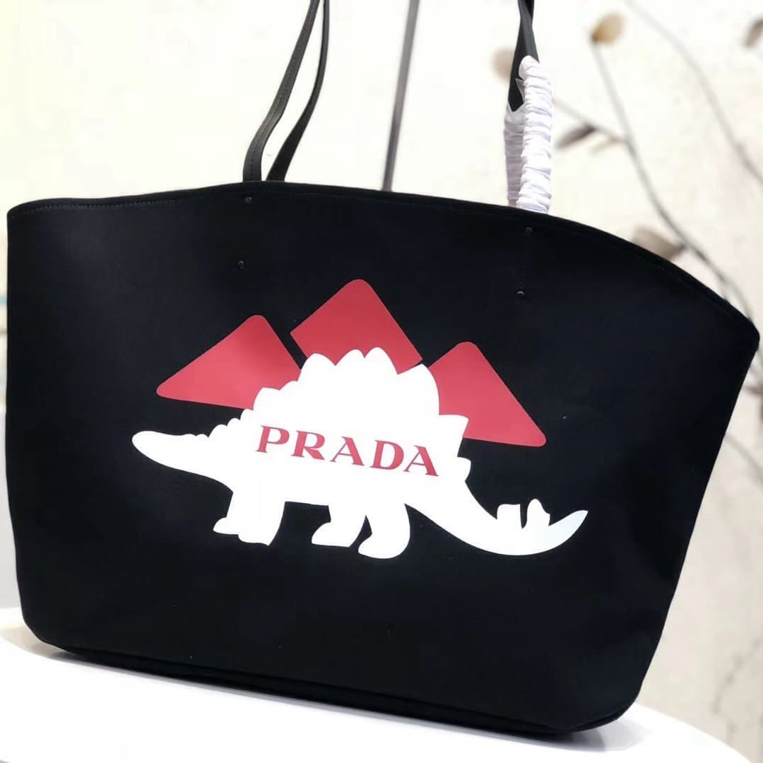 c8c11f3faa Prada Printed Canvas Large Tote with Dino Logo Print 1BG220 Black 2018