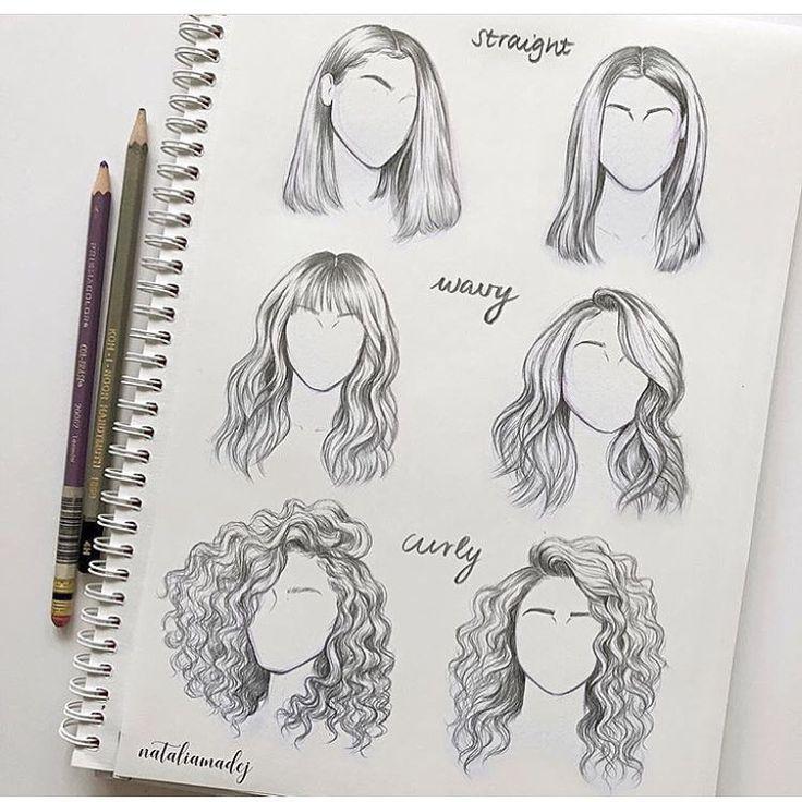 Wie zeichnet man gerade gewelltes lockiges Haar verschiedener Seitenwinkel Perspektiven,  #di…