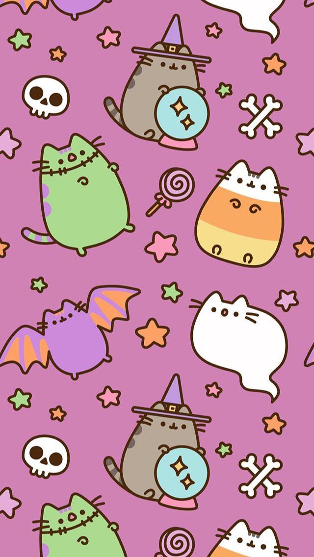 Pusheen Halloween Phone Wallpaper Background Pusheen Pusheencat Halloween Cat Candy Octobe Halloween Wallpaper Iphone Halloween Wallpaper Cute Wallpapers