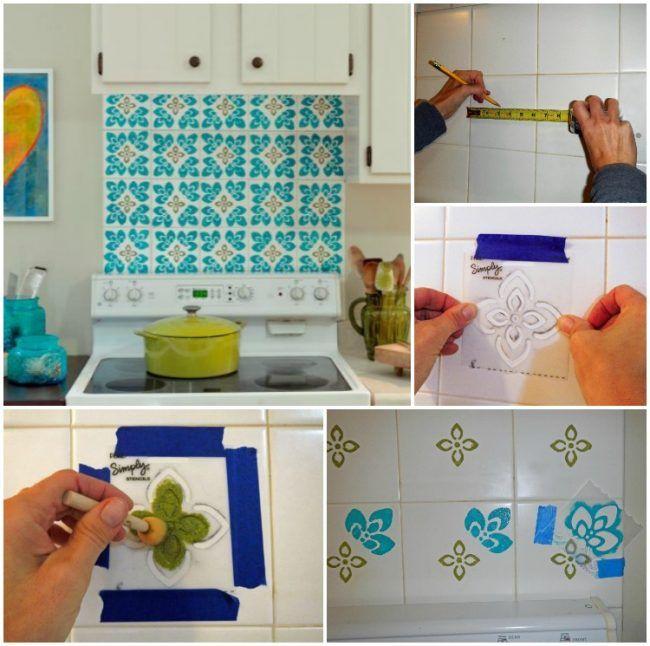 fliesen-streichen-muster-schablone-küchenspiegel-selber-machen ...