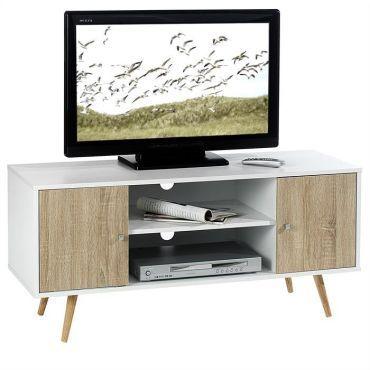 Meuble banc tv design murcia décor blanc et bois pas cher cest