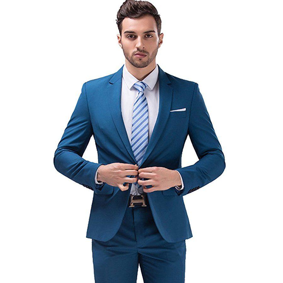 Mens 2-Piece Dress Suits Set Silm Fit One Button Suit for Men Blazer Jacket