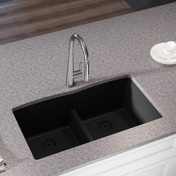 Quartz Luxe 33 L X 19 W Double Basin Undermount Kitchen Sink