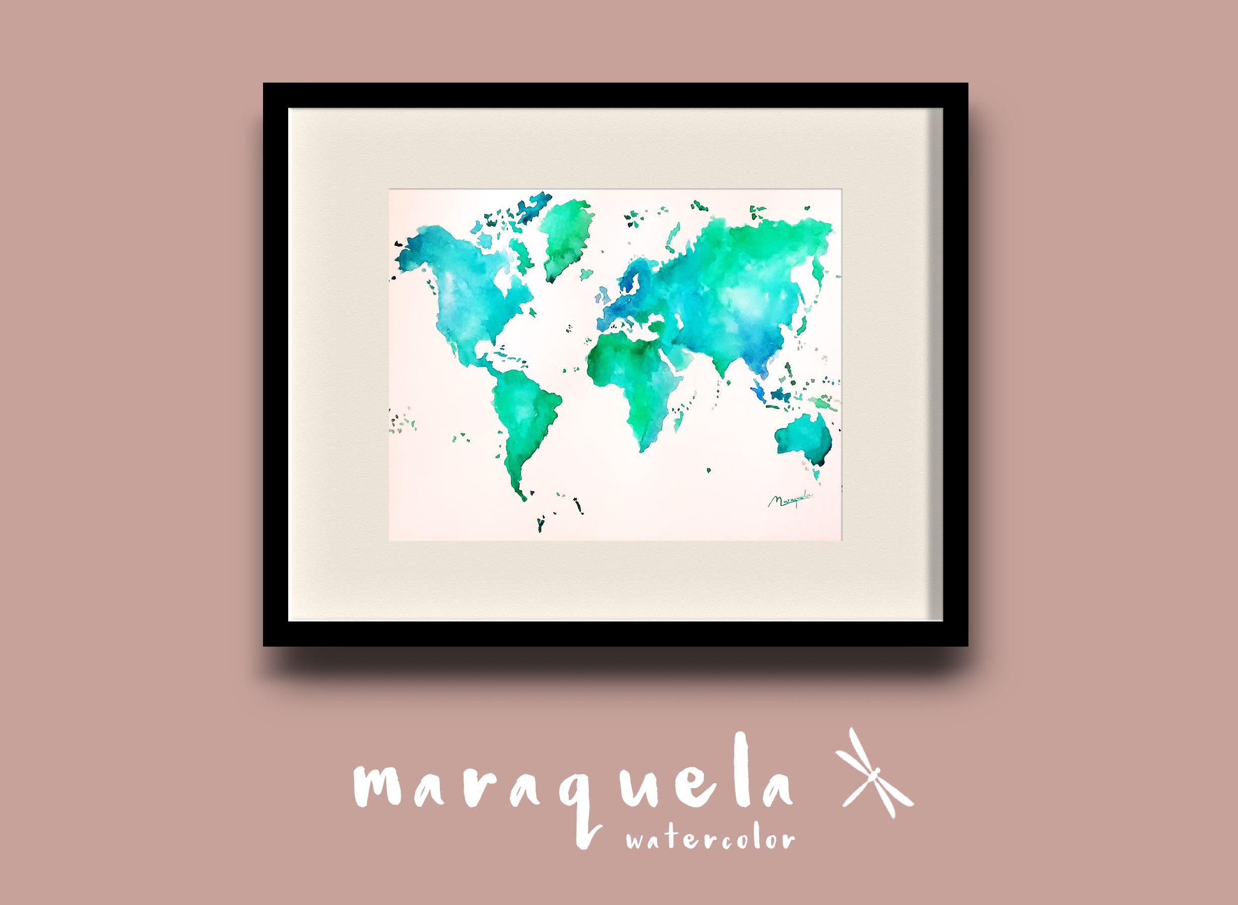 Watercolor World Map Mapa Mundi En Acuarela Colores Del Mar Unique Items Products Watercolor Original Watercolors