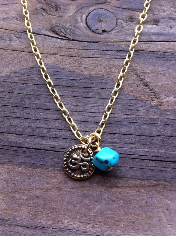 Gold OM Necklace with Genuine Turquoise by RedGypsyJewelry