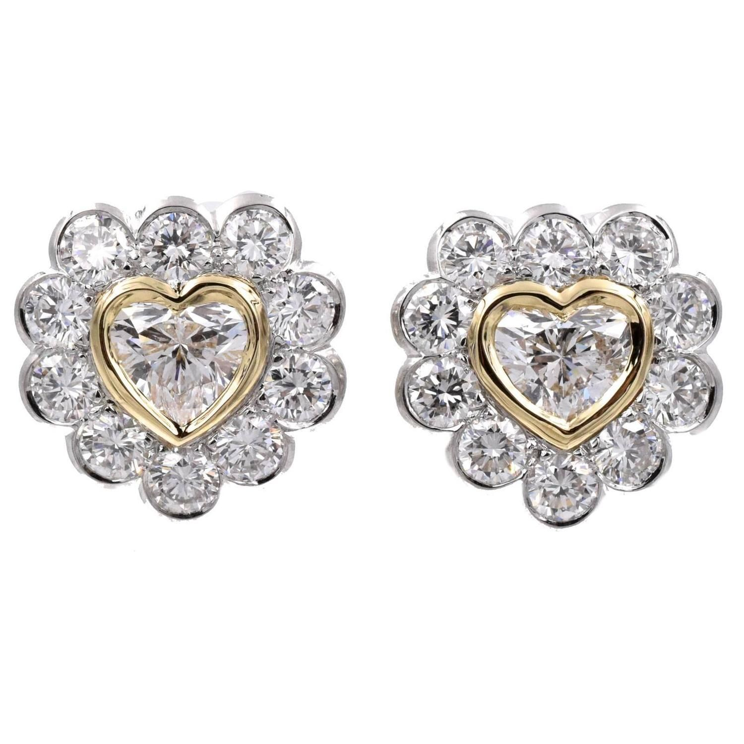 Sweet Valentine GIA Cert Heart Shaped Diamond Gold Earrings  | From a unique collection of vintage clip-on earrings at https://www.1stdibs.com/jewelry/earrings/clip-on-earrings/