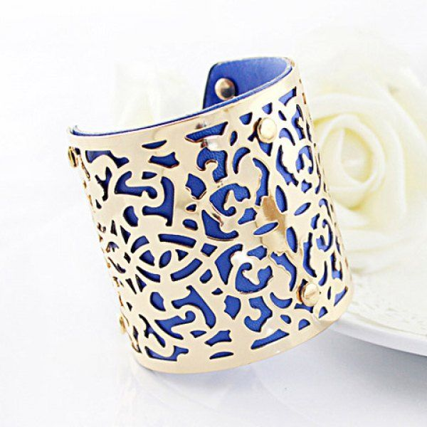 Characteristic Flower Vine Carving Design Openwork Wide Alloy Bracelet