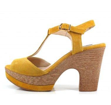 Sandalias de tacón de mujer Gadea de ante color amaril... HlVfsAq9r