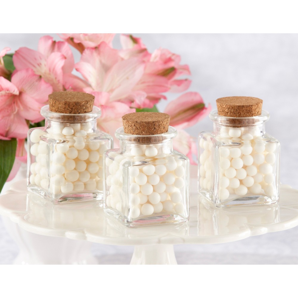 "Real Weddings Cork: Kate Aspen ""Petite Treat"" Square Glass Favor Jar With Cork"