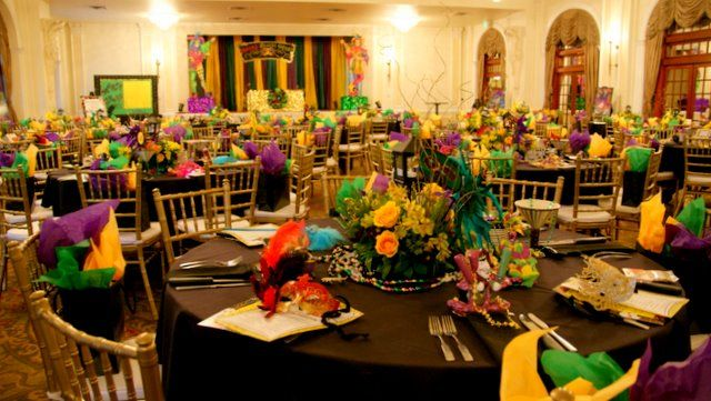 Crystal  Ballroom at the Rice Hotel was transformed into Bourbon Street scene by Fleur de Vie and the client.