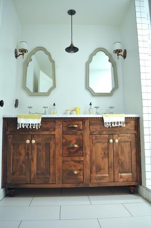 Rustic Alder wood double sink vanity with antique brass hardware ...