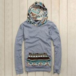 Splicing Ethnic Style Pattern Pocket Design Long Sleeve Hoodie For Men (BLUE,M) China Wholesale - Sammydress.com