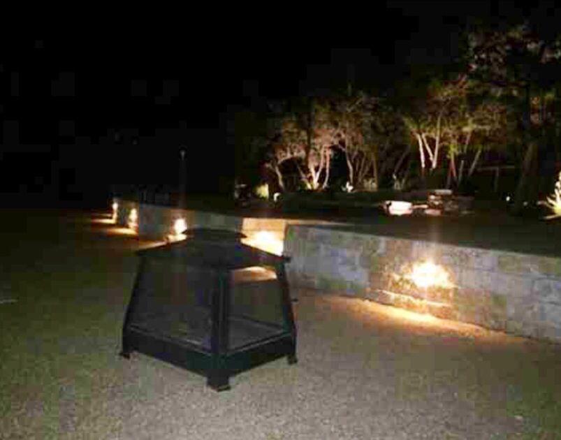 Landscape lighting, outdoor lighting, retaining walls, Austin