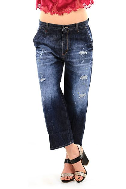 Twin Set Jeans - Jeans - Abbigliamento - Jeans in cotone modello al polpaccio con dettagli consumati sulla lunghezza. Strass sul retro sulle tasche. - UNICO - € 182.00