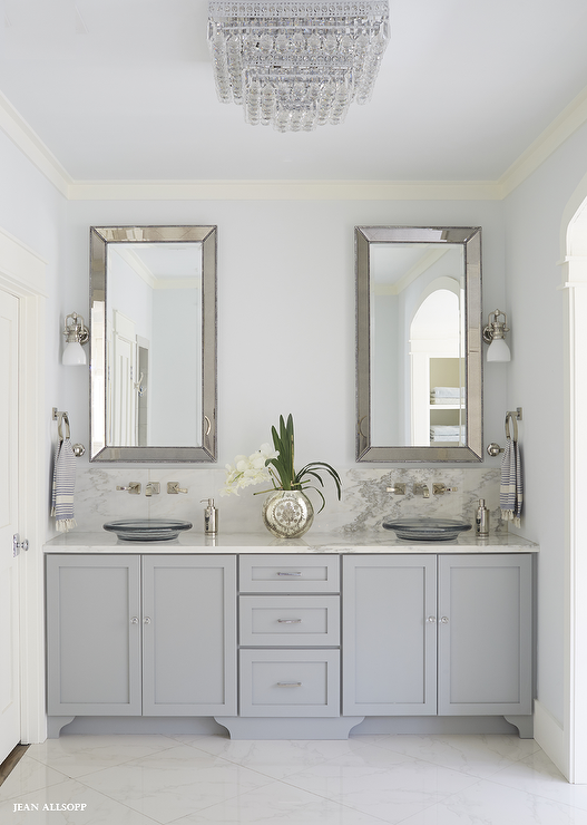 Fabulous Gray Bathroom Features A Gray Dual Vanity Adorned