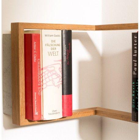 eckregal 39 b eck 39 designer das kleine b handgefertigtes eck b cherregal aus eichenholz. Black Bedroom Furniture Sets. Home Design Ideas