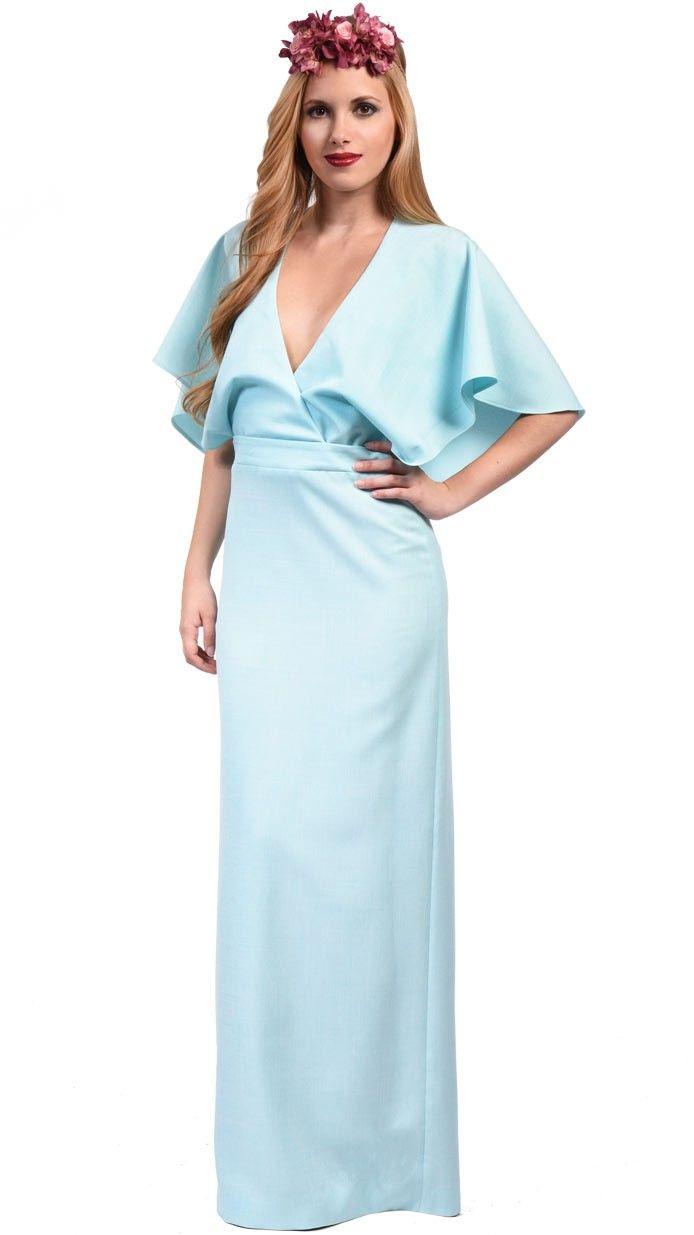 DRESSEOS - Vestido largo sin espalda con capa en azul claro de ...