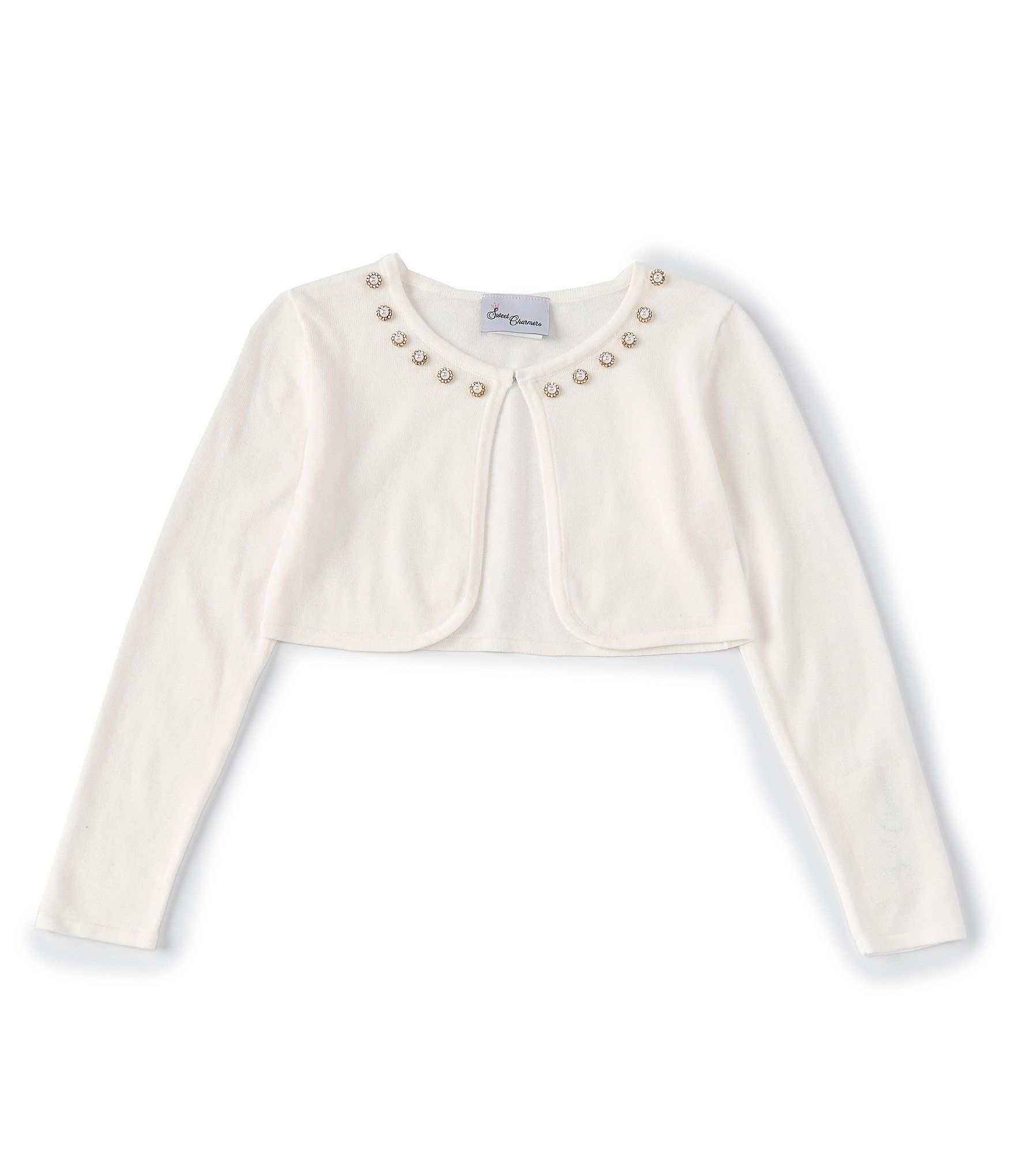 Bonnie Jean Girls Button-Front Cropped Cardigan Sweater In Navy