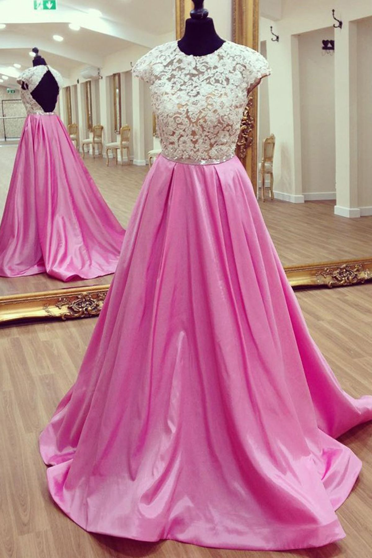 White lace open back long A-line prom dress, rosy satin graduation ...