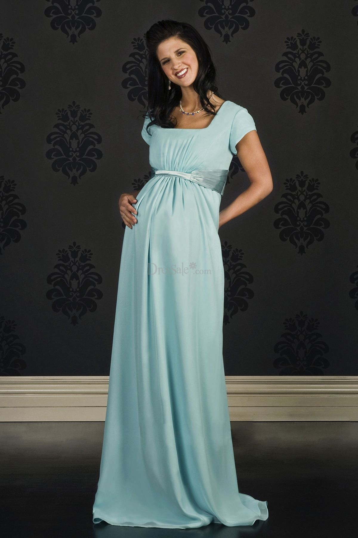 Modest Empire Square Column Bridesmaid Dress for Maternity - For ...