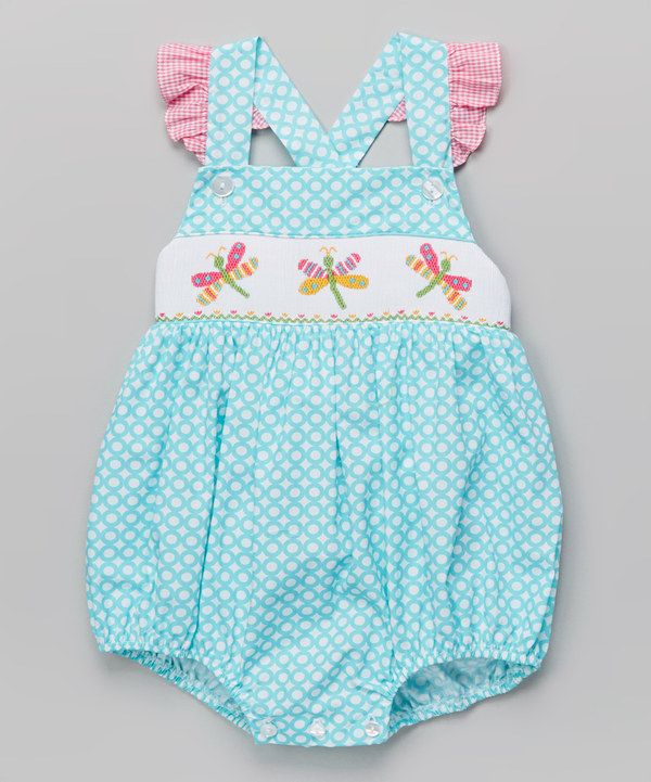 Another great find on #zulily! Turquoise Circles Firefly Smocked Bubble Bodysuit - Infant by Velani Classics #zulilyfinds