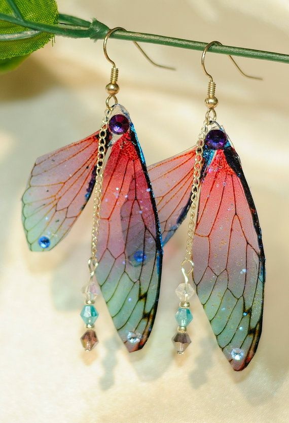 ad786abb5 Fairy Wing Earrings fantasy dragonfly cicada transparent wings on dangle  earring | Fantasy, magical jewelry | red and green | butterfly