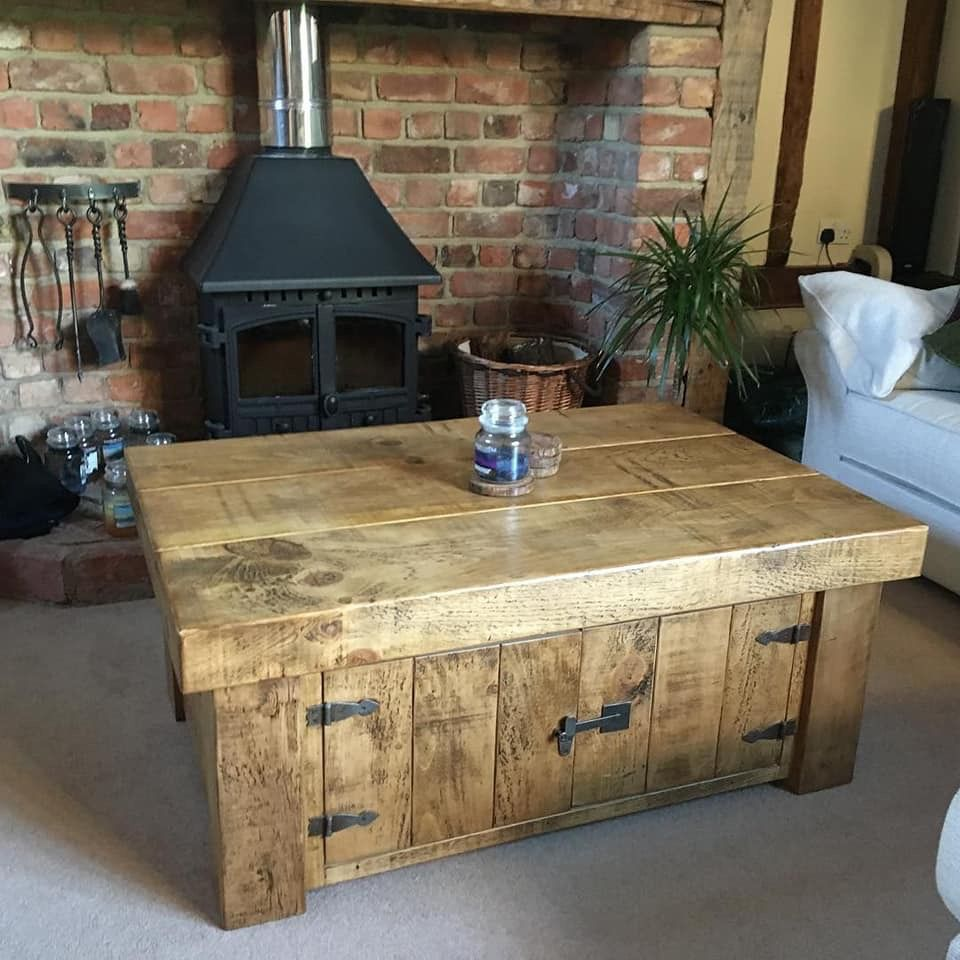Rustic Chunky Farmhouse Solid Wood Coffee Table Solid Wood Coffee Table Coffee Table Coffee Table With Storage [ 960 x 960 Pixel ]