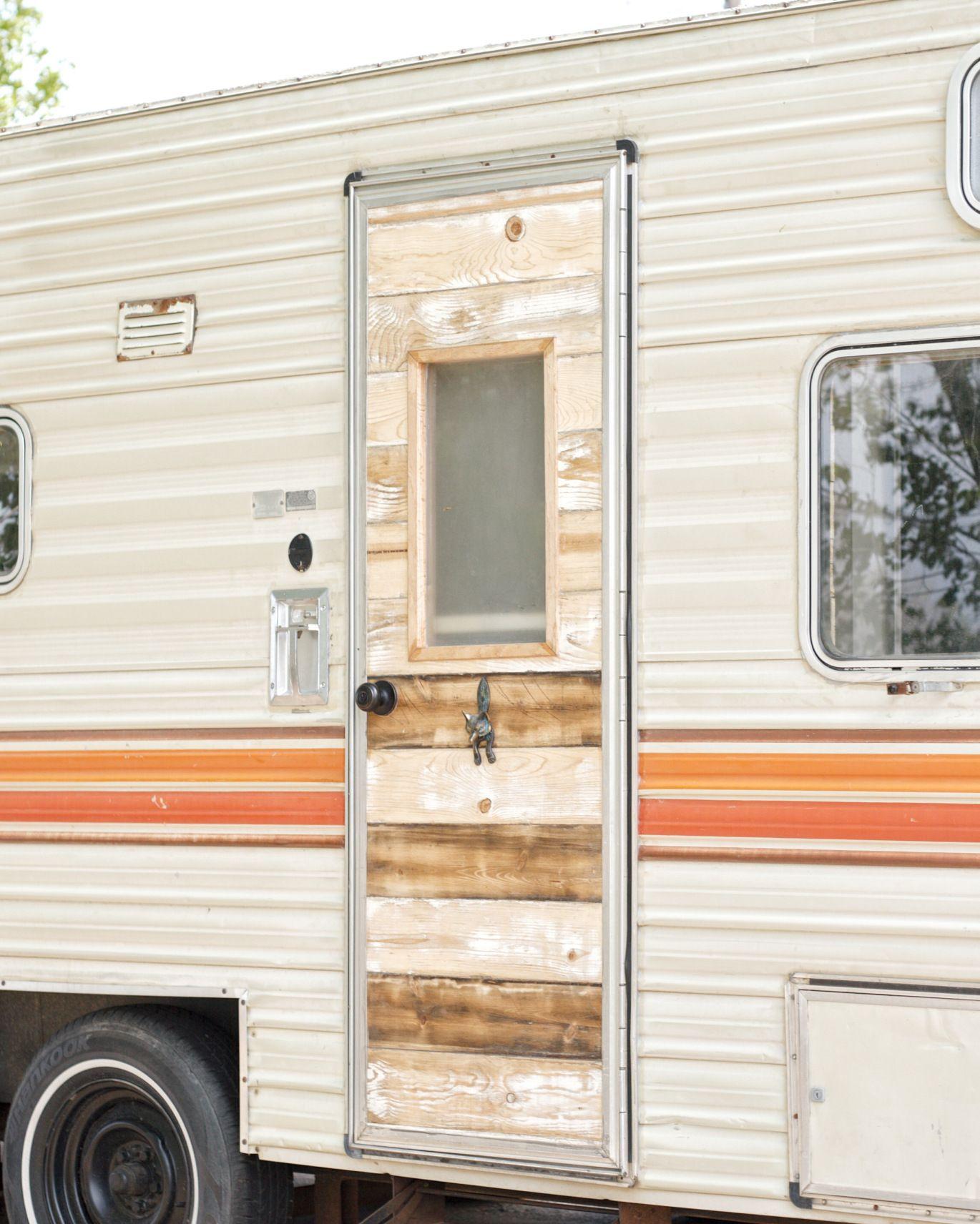 RECLAIMED BARN WOOD CAMPER DOOR | Teenie tiny | Remodeled