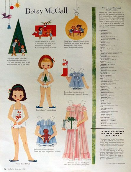 1958 Betsy McCall Paper Dolls ~ Betsy & Cousin Linda