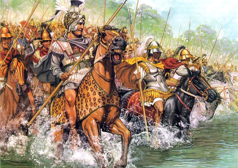 """""""Alexander crosses the Granicus at the head of his cavalry to attack the Persians"""", Peter Connolly"""