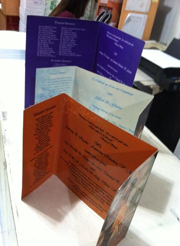 Folded Type Wedding Invites For Printing Services: Wedding ...