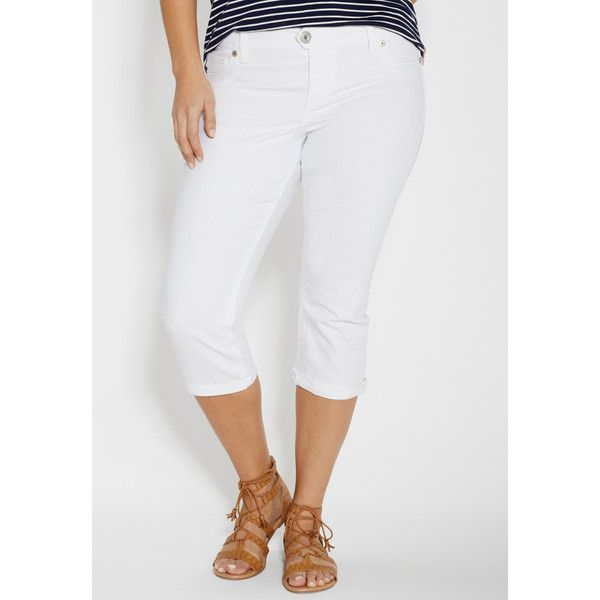 932b0808982 maurices Maurices Plus Size - Ellie Capri In White With Back Flap... ( 49)  ❤ liked on Polyvore featuring pants