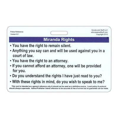 Miranda Rights And Phonetic Alphabet Police Horizontal Reference Badge Card Miranda Rights Phonetic Alphabet Teaching